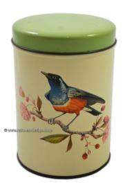 """Vintage tin by """"De Gruijter"""" with blue / orange bird, green lid"""