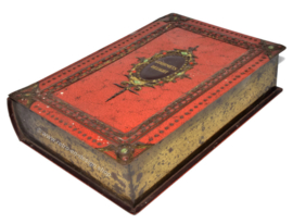 Tin box in book shape with orange leather imitation, Gourmets Delight for VICTORIA