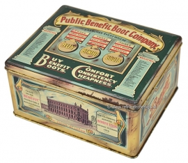 Vintage old tin by the Public Benefit Boot Company