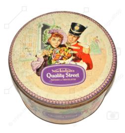 Grande boîte de bonbons vintage ronde des années 1960 fabriquée par Mackintosh's pour les caramels de Quality Street