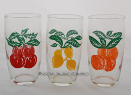 Three vintage lemonade glasses with fruit print, 70s