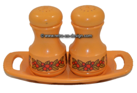 EMSA yellow salt and pepper shakers, red berries pattern