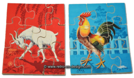 Vintage wooden animals puzzle, made in China