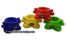 Set of four plastic colored egg cups by Deli Nature