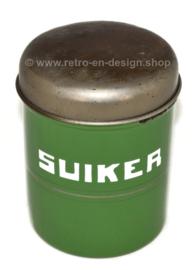 Recipiente de almacenamiento brocante reseda esmaltado verde para almacenar azúcar