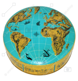 Vintage biscuit tin with a world map embossed on the lid