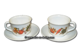 Arcopal France cup and saucer, vegetables motif