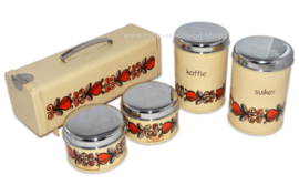 Vintage Brabantia set met blikken peperkoekblik, koffiebus, suikerbus en twee voorraadbusjes