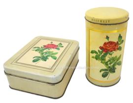 Vintage beschuitbus en koektrommel met rozen van Hoffmann Switzerland