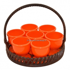 Vintage EMSA basket with 7 EMSA egg cups