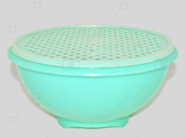 Jade green coloured vintage Tupperware colander with a white transparent grid