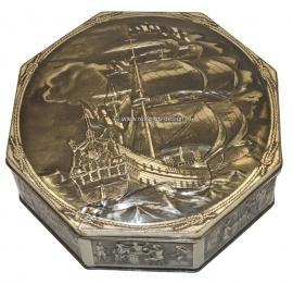 Octagonal tin jar with image of a Dutch East India Company ship