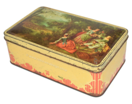 Vintage romantic biscuit tin with representation of old painting