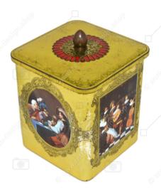 Boîte carrée avec un bouton doré avec une image de peintures de maîtres hollandais