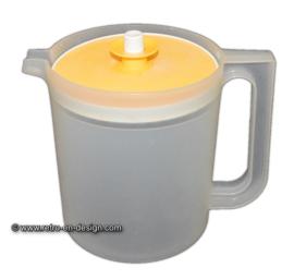 Vintage Tupperware schenkkan, transparant met geel deksel