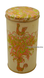 Vintage rusk tin by Verkade with stylized birds and flowers