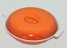 Brocante flamed orange cast iron three-compartment dish or casserole made by DRU with heavy cast iron lid
