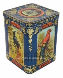 Blikken trommel voor Van Melle toffees met aan drie zijden afbeeldingen van verschillende tropische vogels.