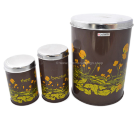 Set of three brown Brabantia stock containers with buttercups pattern