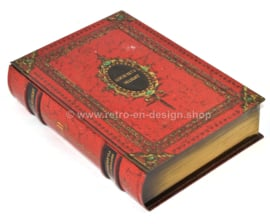 Blikken boeksimulant of blik in boekvorm met oranje leerimitatie, Gourmets Delight voor VICTORIA