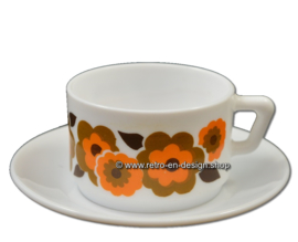 Vintage Arcopal France LOTUS coffee cup and saucer, Orange/brown