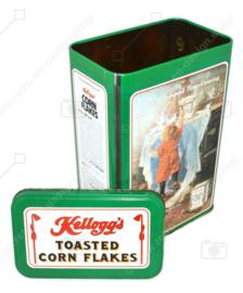 Vintage blik Kellogg's Cornflakes, groene bewaarbus, There's a Good Time Coming