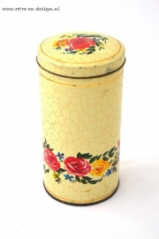 Craquele canister with roses pattern
