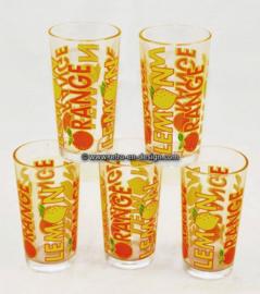 Vintage Lemonade glass, Lemon, Orange