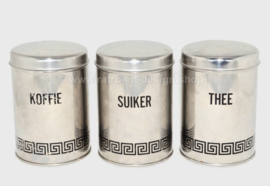 Set van drie vintage Van Nelle voorraadbussen, tem stainless steel, made in Holland