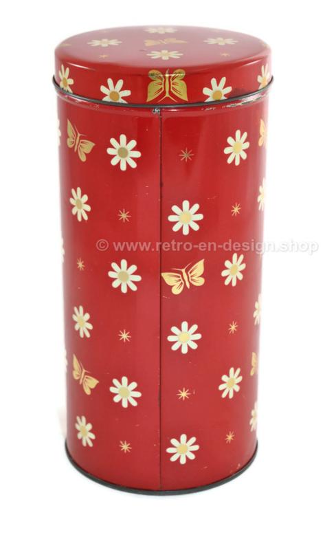 Rode beschuitbus voor ARK met bloemen en vlinders