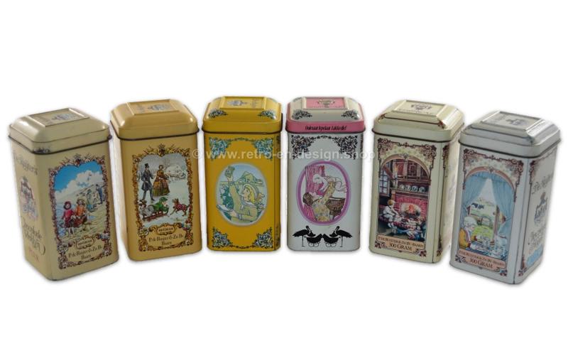 Complete series of six vintage tins by De Ruijter