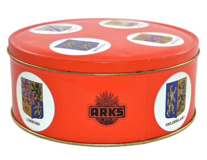 Lata de galletas vintage de Arks con provincias holandesas y los escudos de armas que lo acompañan