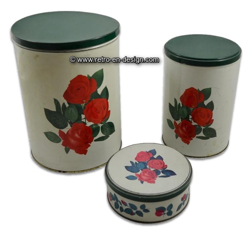 Vintage TOMADO Blechdosen mit Rosenprint