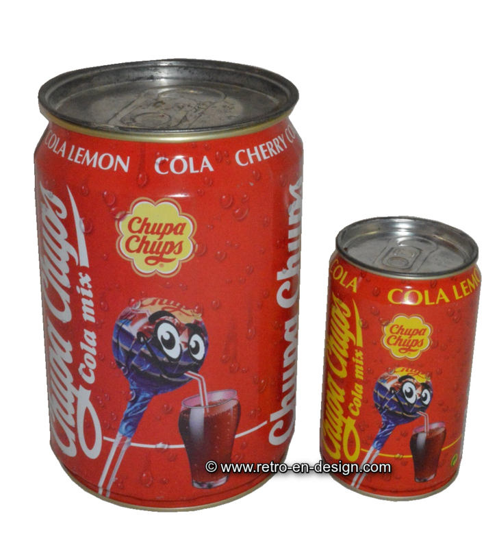 Big and small cola tin for Chupa Chups lolly's