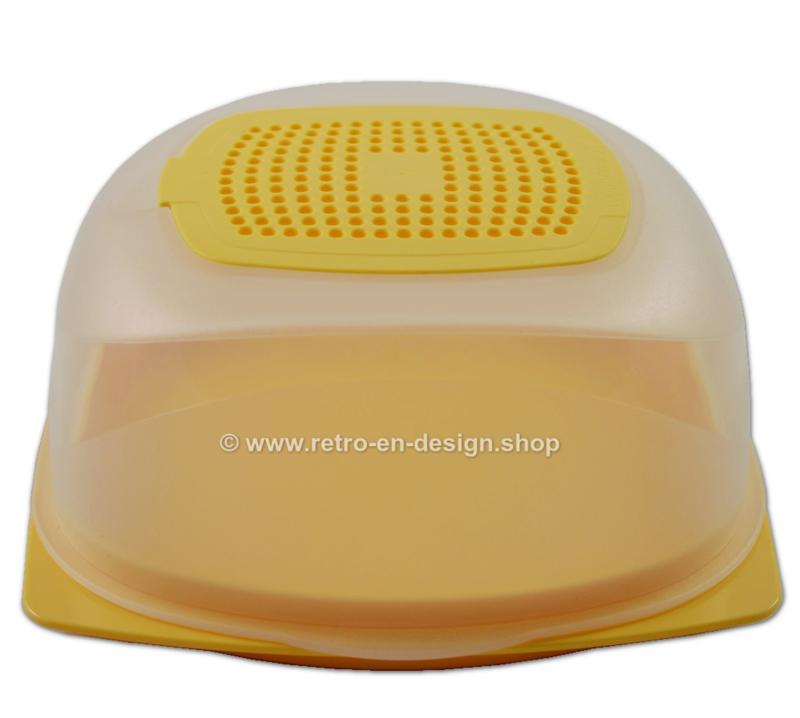 Vierkante Tupperware CheeSmart Mini, kaasdoos geel