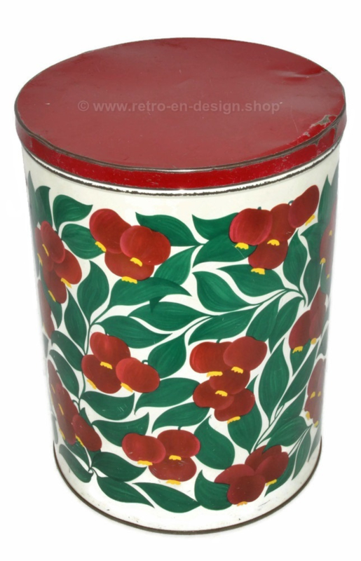 Large vintage tin with images of rose hips, container made in Holland