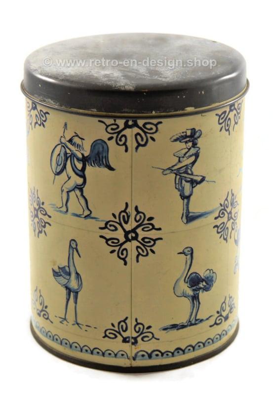Boîte étain Vintage fabriquée par Hoffmann Switzerland avec un motif de carreaux bleu / blanc