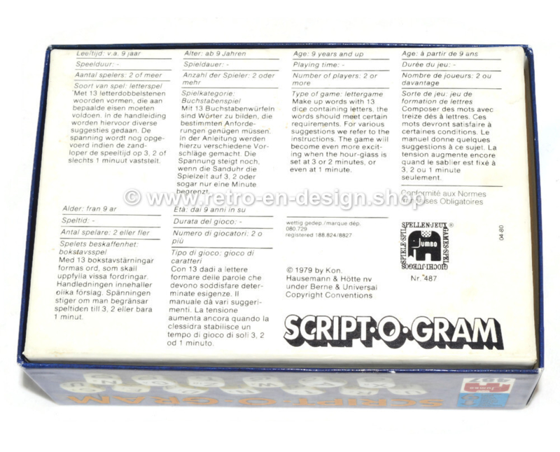Jeu de dés vintage Script.O.Gram - Jeu de lettres Jumbo 1979
