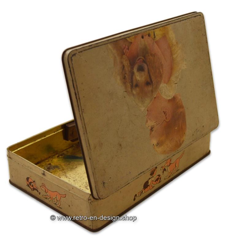 Jacques Superchocolat, antique tin drum with child and cocker spaniel