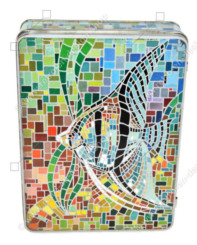 Rectangular vintage tin with a mosaic-like image of an angelfish