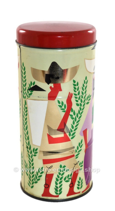 Coffee tin or canister made by Albert Heijn with images of coffee harvest