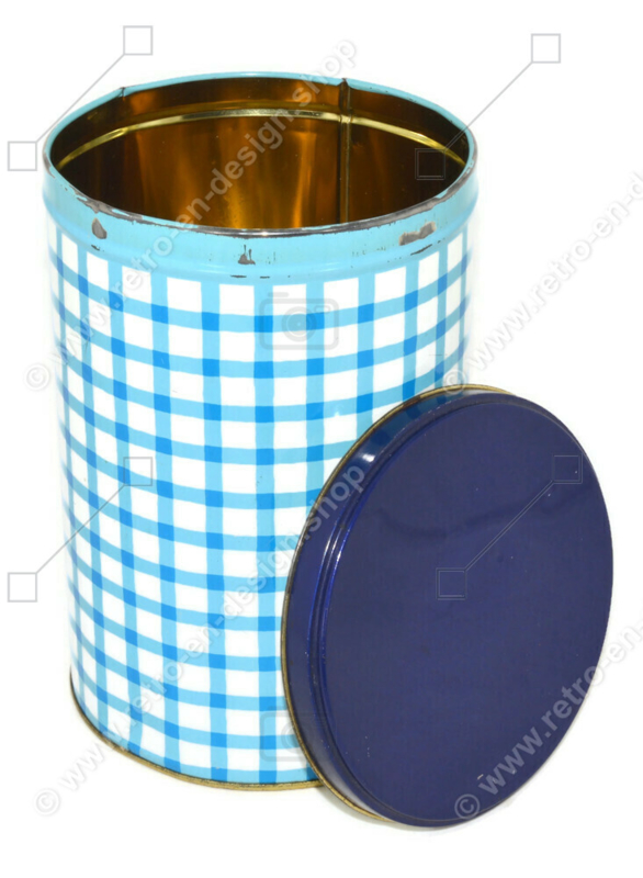 Vintage checkered blue tin by Tomado, 1960s