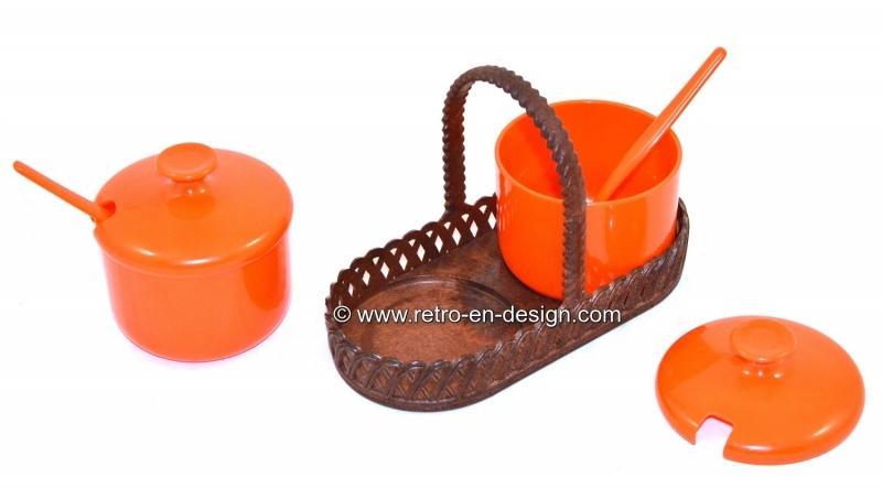 Vintage Emsa jam set. Holder with jam jars including spoons