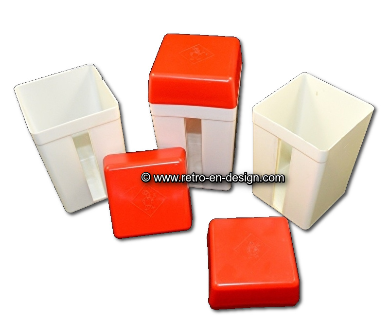 Vintage plastic containers for biscuits or rusk by 'Bolletje'
