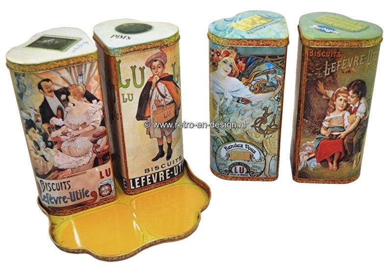 Set of four cookie tins by LU, Lefèvre-Utile in holder
