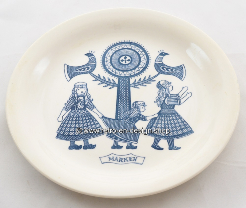 Vintage breakfast plate with an image of Marken and regional costume, Maastricht, 1961-1962