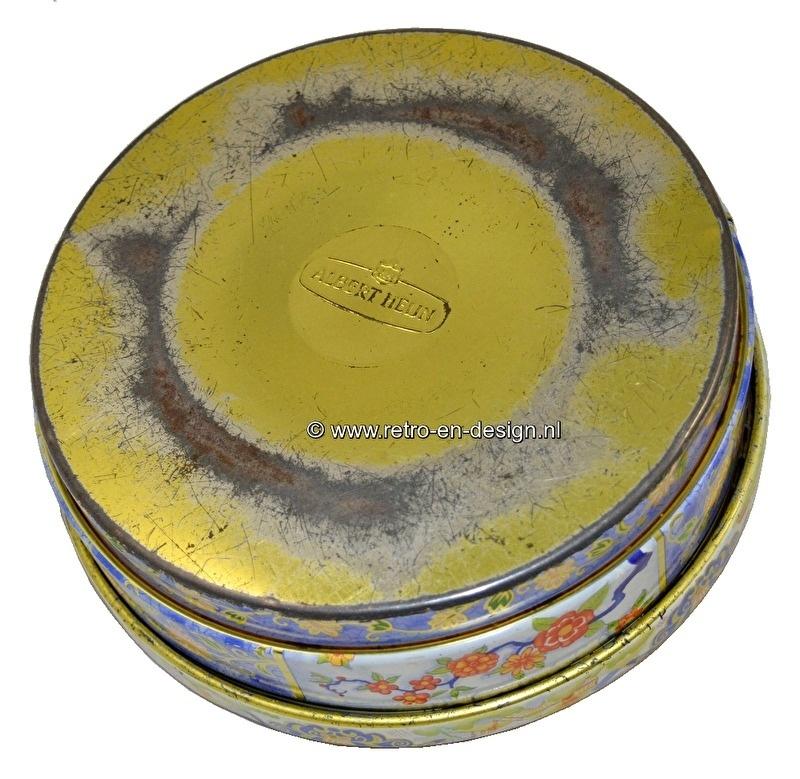Vintage tarro de galletas redondo.  Albert Heijn 1966