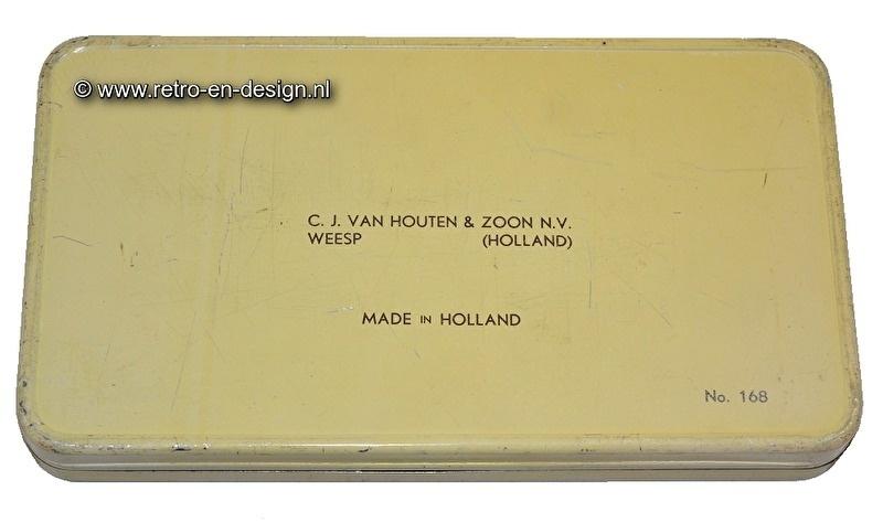 Vintage rectangular tin by Van Houten chocolats 1937