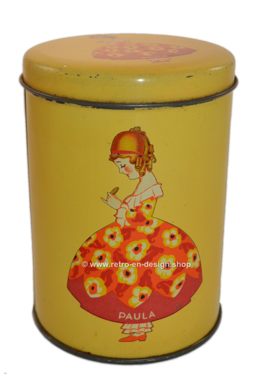 """Vintage biscuit tin """"Paula"""", by bakery Paul C. Kaiser 1930-1950"""