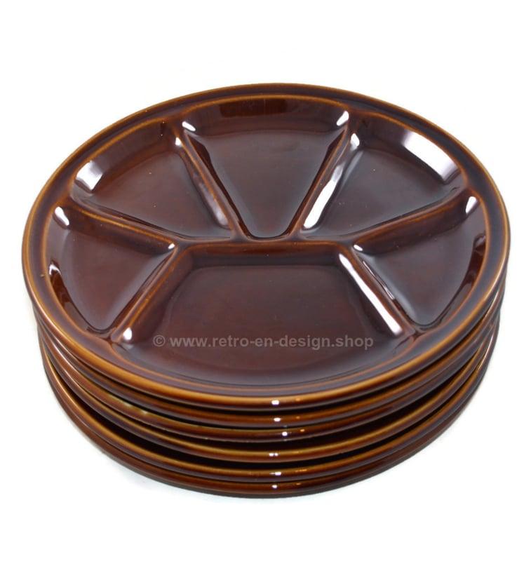 Conjunto vintage de platos de fondue de loza esmaltada marrón